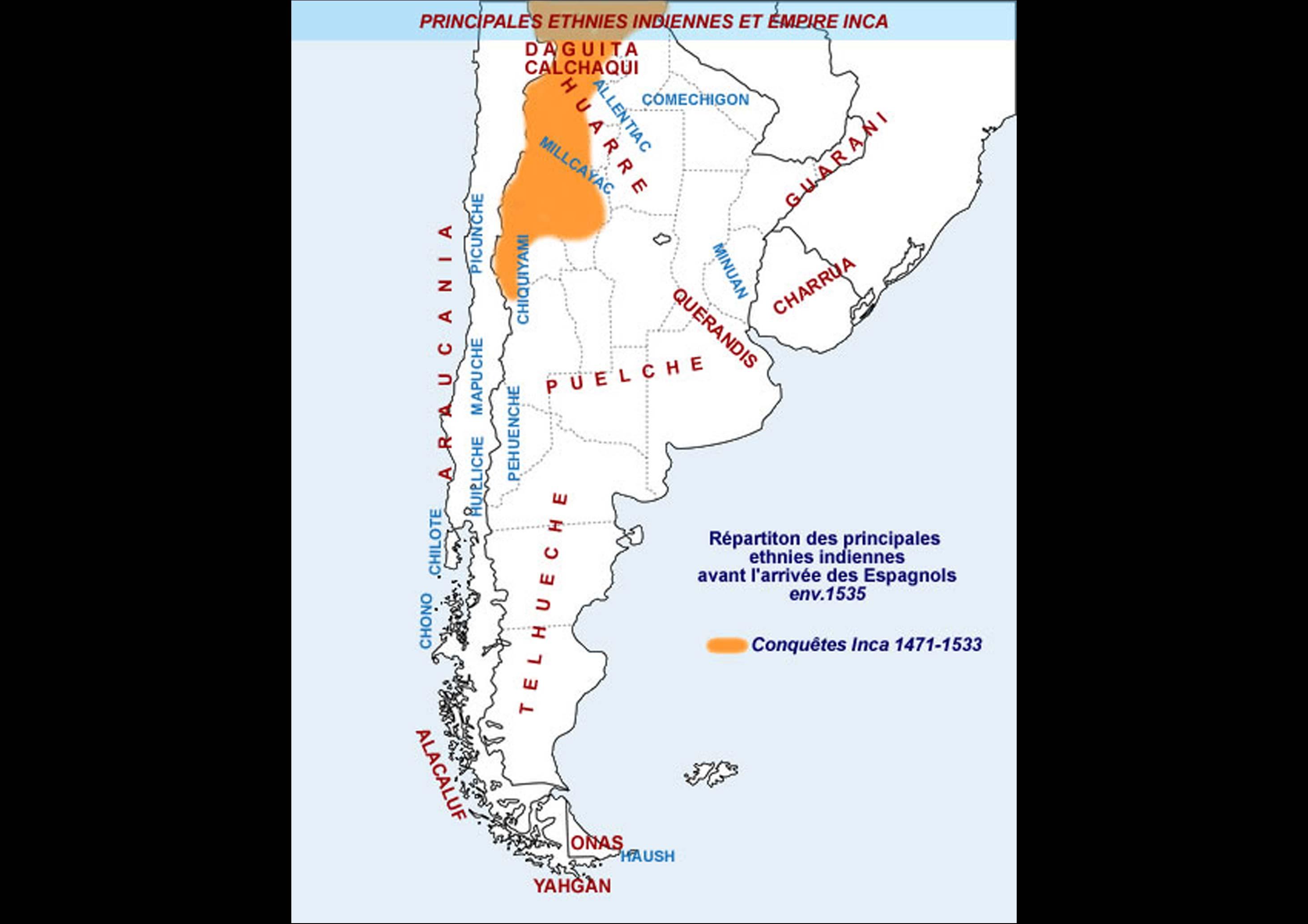 répartion des ethnies indienne dans le cone sud